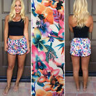 Womens Flower Print Elastic waist Summer Beach Casual Hot Mini Pants Shorts Plus