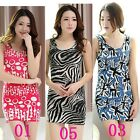 Women Slim Leopard Cute Circle Pattern Tight Sleeveless Party Clubwear Dress