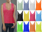 Womens Loose Tank Top Ladies Casual Muscle Vest V-Front V-Back Burn Out 8-22