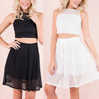 AP76 Womens Laser Cut Out Sleeveless Crop Top and Skater Skirt Summer Co-ord
