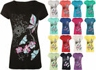 New Womens Plus Size Butterfly Print Short Sleeve T-Shirt Ladies Baggy Top 14-20