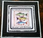 Handmade Personalised Birthday Card ANY AGE Fishing Friend Grandson Cousin Son