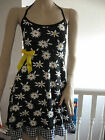 New Black white yellow floral check Halterneck Hippy Boho Festival Party Dress