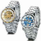Luxury Mens Classic Skeleton Mechanical Steampunk Stainless Steel Wrist Watches