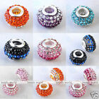10pcs Womens Resin Crystal Finding Bead Fit European Charm Rondelle Bracelet DIY