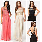 Womens Long Maxi Bridesmaid Formal Backless Ball Gown Party Prom Evening Dresses