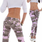 Damen Jeans Hose Röhrenjeans Skinny Camouflage Hüftjeans Camo Armee Army Wow B38