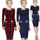 Womens Summer Elegant Vintage Pinup Wear to Work Party Cocktail Pencil Dress 696