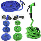 Latex 50 75 100 FT Expanding Flexible Garden Water Hose Spray Nozzle Blue/Green