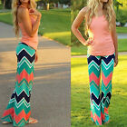 Womens Casual Boho Stretch Pants Wide Leg Stripe Long Loose Palazzo Trousers HOT