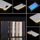 Chrome Electroplated Football Leather back Case Cover For SONY Xperia M2 Z1Z2 Z3
