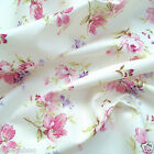 per 1/2 metre/FQ floral pink lilac cream dressmaking/craft fabric 100% COTTON