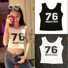New Letter Printed Sleeveless Crop Tops Women Casual Blouse Black/White Vest F20
