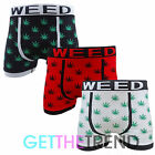 Mens Sexy Seamless Cannabis Weed Boxer Trunks Novelty Funny Boxers Shorts 3 Pair