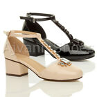 WOMENS LADIES BLOCK LOW MID HEEL T-BAR MARY JANE JEWELLED SANDALS SHOES SIZE