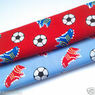 per metre football boots red or blue polycotton fabric 112cm wide craft dress