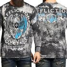 AFFLICTION Mens THERMAL T-Shirt VIRTUE Tattoo Motorcycle Biker MMA Jeans $58 image