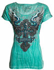 Sinful AFFLICTION Womens T-Shirt FELINE Cross Wings RHINESTONES Biker UFC $54