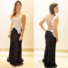 Sexy Women Backless Lace Cocktail Evening Party Cocktail Ball Gown Formal Dress