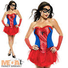 Spidergirl + Mask Ladies Fancy Dress Marvel Superhero Womens Costume Outfit New