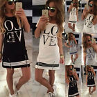 New Fashion Love Printed Womens Summer Mini Dress Ladies Casual Long Tops Blouse