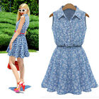 Summer Dress Women Fashion Lady Sleeveless Casual Slim Denim Dress Free Ship