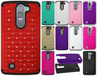 For LG Volt 2 LS751 HYBRID IMPACT Dazzling Diamond Case Phone Cover Accessory