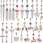 Charm Crystal Rhinestone Navel Dangle Belly Barbell Button Bar Ring Body Jewelry