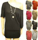 New Ladies Off Shoulder Batwing Stretch Necklace Womens Ruched Short Sleeve 8-14