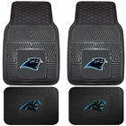 NFL Football Carolina Panthers Front Rear Vinyl Rubber Floor Mats Car Truck