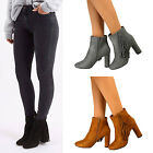 New Womens Suede Mid High Block Heel Ankle Boots Ladies Fringe Shoes Zip Size UK