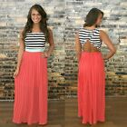 2015 Womens Evening Party Skirt Sleeveless Summer Long Maxi Dress Size 8-14