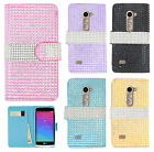 For LG Leon C40 Premium Bling Diamond Wallet Case Pouch Phone Cover Accessory