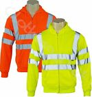 Hi Viz Hoody Mens Work Safety Hooded Sweatshirt Hoodie Security Reflective Tape