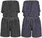 Womens Polka Dot Printed Ladies Bandeau Frill Boob Tube Shorts Playsuit Jumpsuit