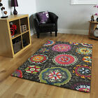 New Soft Modern Abstract Brown Rugs Easy Clean Retro Colourfast Living Room Mat