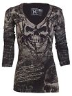 Xtreme Couture AFFLICTION Womens LS T-Shirt KILLER Biker BLK GREY Sinful UFC $58