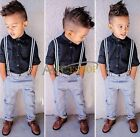 2pcs Toddler Baby Boys Top Shirt +Bid Jeans Overall Clothes Outfit Set gentleman