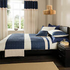 Catherine Lansfield Geneva Navy Cream Embroidered Duvet Quilt Cover Bedding Set