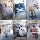 FATHER CHRISTMAS FLANNELETTE DUVET QUILT COVER SET SANTA REINDEER PENGUIN