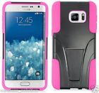 BLACK & HOT PINK T-Stand Hybrid Cover for Samsung Galaxy S6 Edge Plus