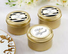 36 Personalized Classic Wedding Theme Round Gold Candy Tins Wedding Favors