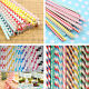 25pcs Colorful Vintage Biodegradable Paper Drinking Straw Birthday Wedding Party