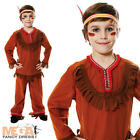 Red Indian Boy's Fancy Dress Western Childrens Kids Costume Child Ages 4-12 Y