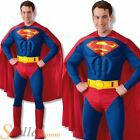 Mens Deluxe Superman Costume Muscle Chest Superhero Fancy Dress Film Outfit