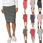 TheMogan Women's Striped Stretch Cotton Elastic Waist Knee Length Pencil Skirt