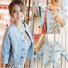 Casual OL Womens Cowboy Jeans Short Coat Jacket Blazer Blue Tops S M L 4142 WFR