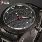 SHARK ARMY Black Stainless Steel Band Date Army Quartz Men Sport Wrist Watch