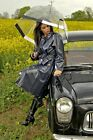 New Ladies Full Length 100% Pvc Raincoat Mac Matt Black Or Clear Black Pr20