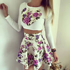 Women Fashion Two Piece Suit Long Sleeve Top and High Waist Skirt Ladies Dress